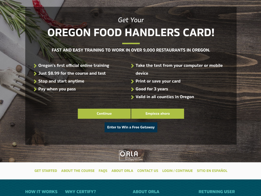 Oregon Food Handler Certification